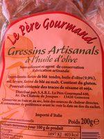 Gressins à l'huile d'olive - Ingrédients
