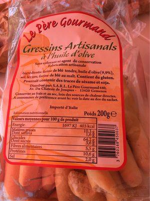 Gressins à l'huile d'olive - Informations nutritionnelles