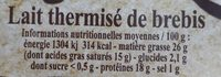 Le Berger de Lozere FROMAGERS DE LOZERE - Voedingswaarden