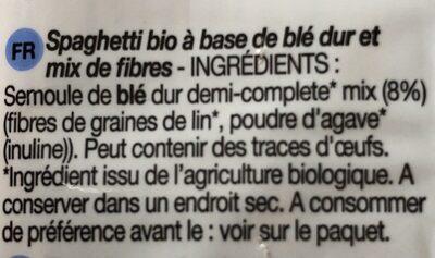 Spaghetti bio - Ingrédients