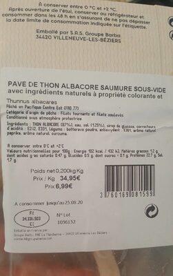 Le pavé de thon - Informations nutritionnelles - fr