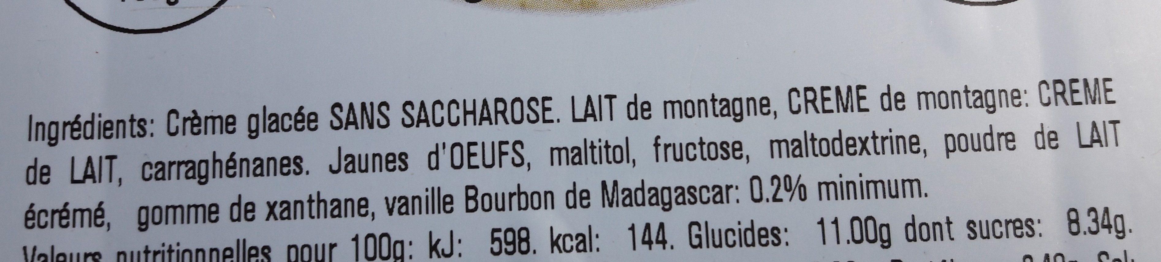 Crème glacée vanille bourbon sans sucre - Ingrédients