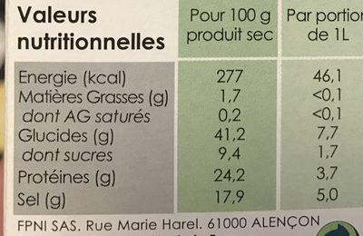 Bouillon de Légumes Naturel - Nutrition facts