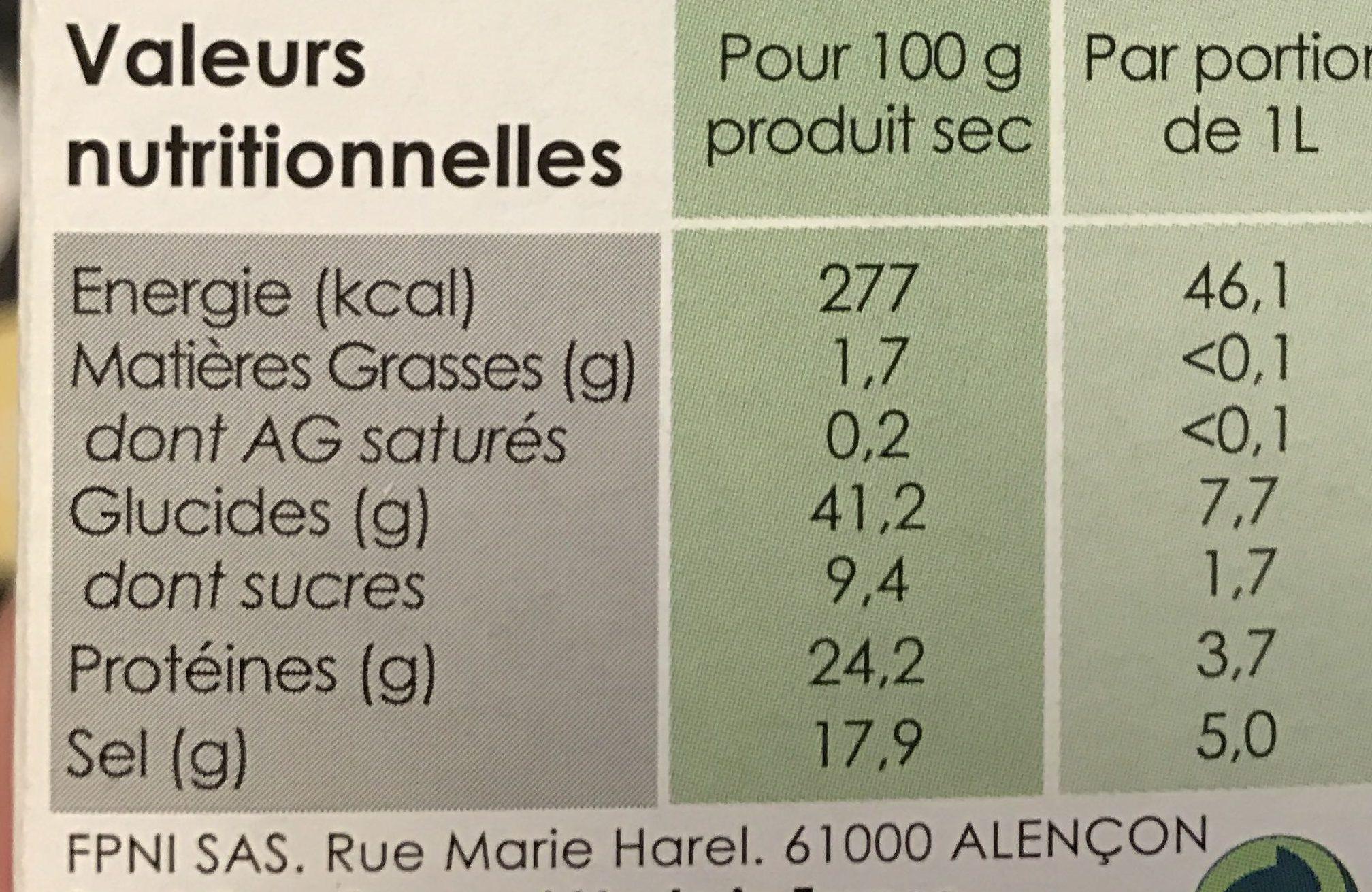 Bouillon de Légumes Naturel - Nutrition facts - fr