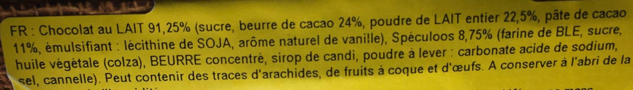 Chocolat au lait - Spéculoos - Ingrediënten - fr