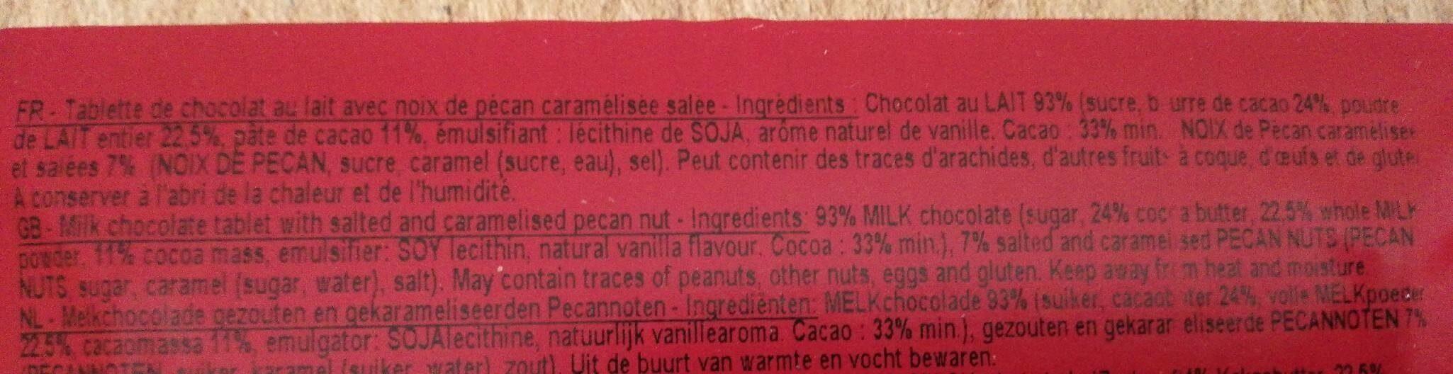 Chocolat Mathilde Carré Lait Noix De Pécan Caramélisés - Informations nutritionnelles - fr