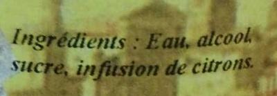 Liqueur Citron Limonello La Mentonnaise - Ingrédients