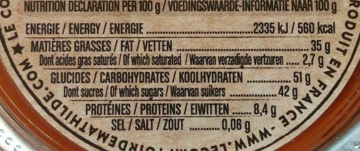 Pâte à tartiner - Voedingswaarden - fr