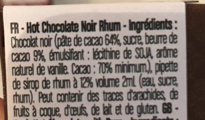 chocolat noir rhum - Ingrédients