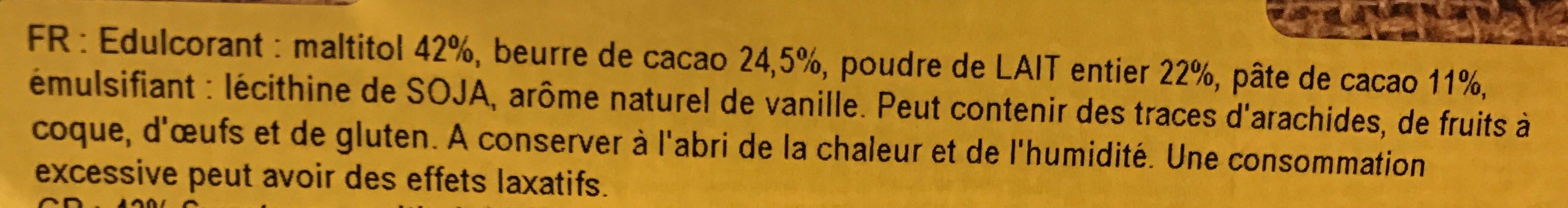Chocolat au lait sans sucre ajouté - Ingrédients - fr