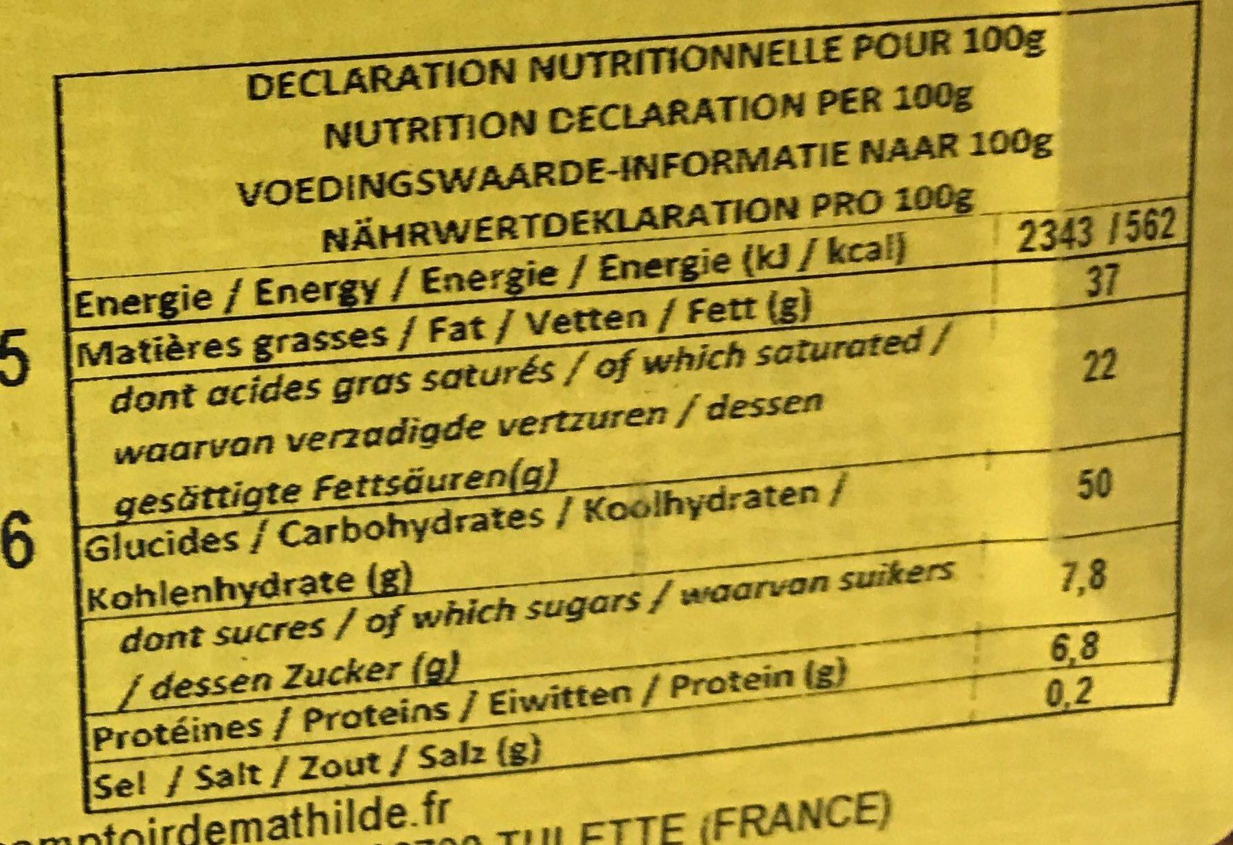 Chocolat au lait sans sucre ajouté - Informations nutritionnelles - fr