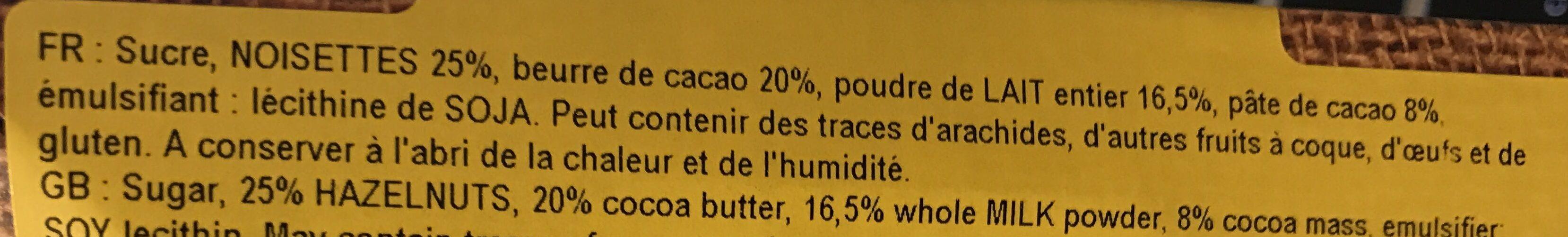 Chocolat au lait Praliné Gianduja - Ingredients - fr