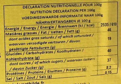 Chocolat au lait Praliné Gianduja - Nutrition facts - fr