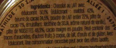 Pâte à Tartiner Lait Noisette - Ingrediënten - fr