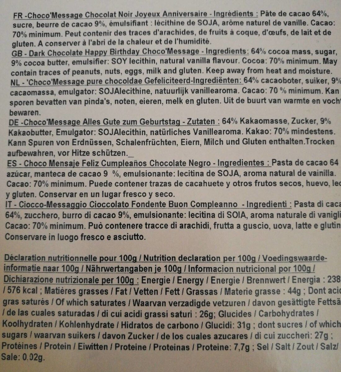 Choco message - Informations nutritionnelles