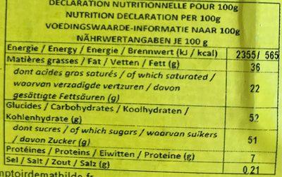 Chocolat au lait - Nutrition facts