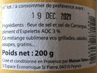 Fleur de sel de camargue au piment d'espelette - Ingredientes - fr