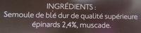 Tagliatelles épinards - Ingrédients