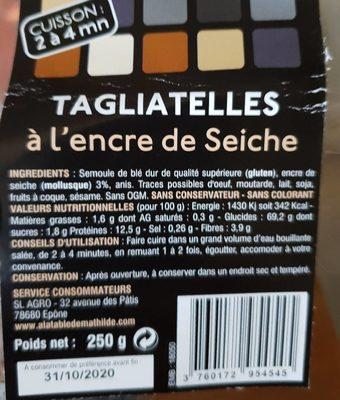 Tagliatelle à l'encre de seiche - Ingredients