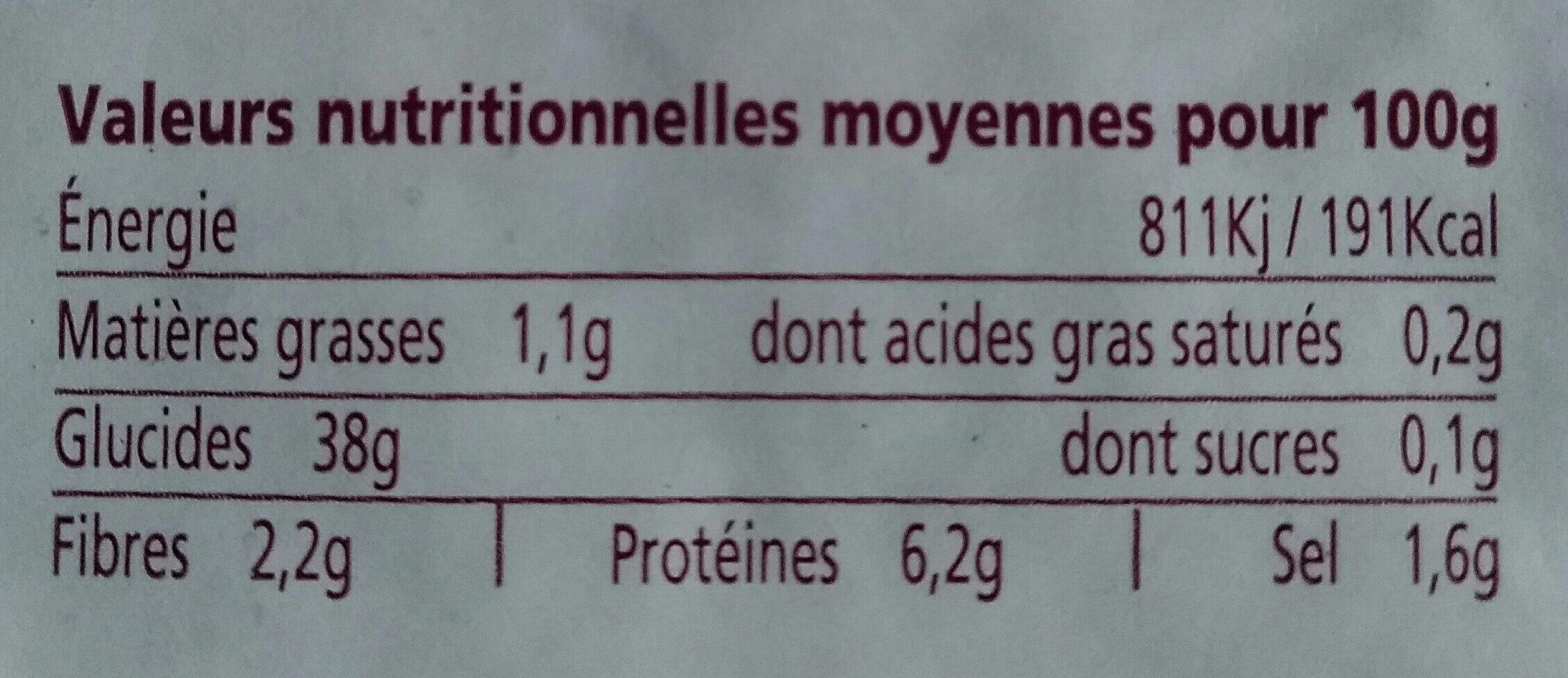 Galettes blé noir - Informations nutritionnelles - fr