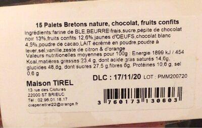 Les palets bretons - meli melo - Valori nutrizionali - fr