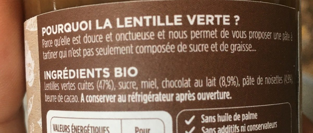 Pate a tartiner bio - Ingrédients