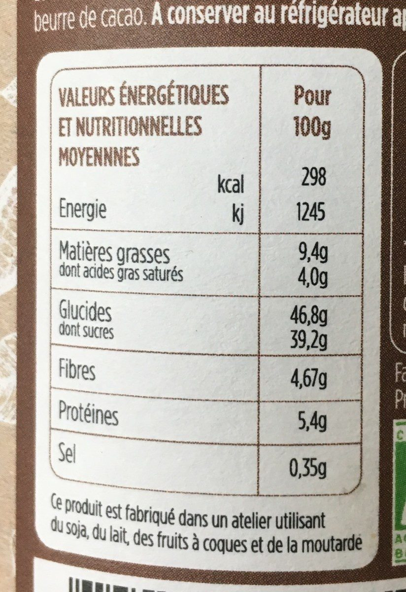 Pate a tartiner bio - Informations nutritionnelles