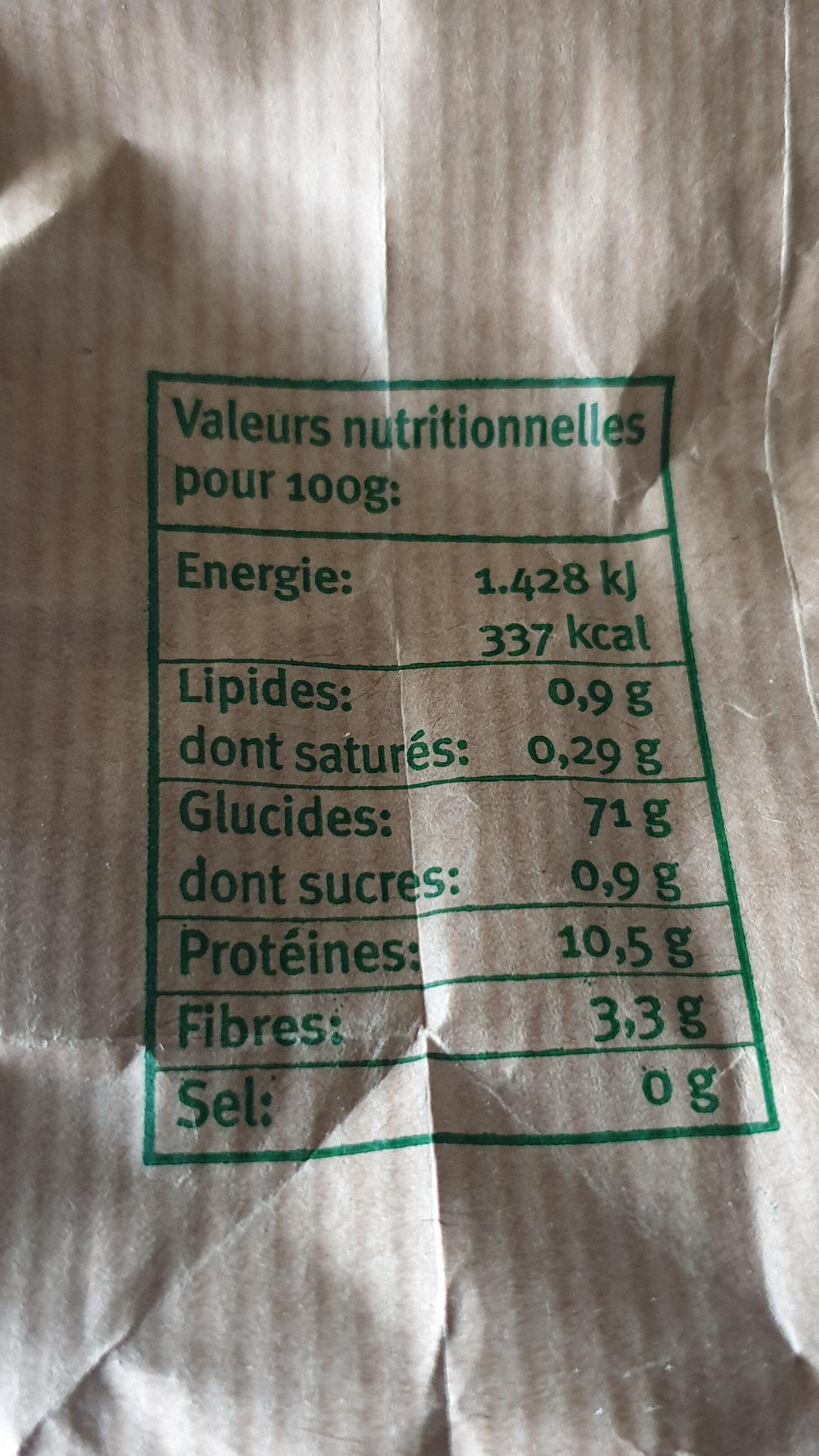 Farine à pâtisserie - Nutrition facts