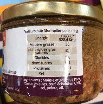 Apero Gourmet aux Echalottes - Informations nutritionnelles - fr