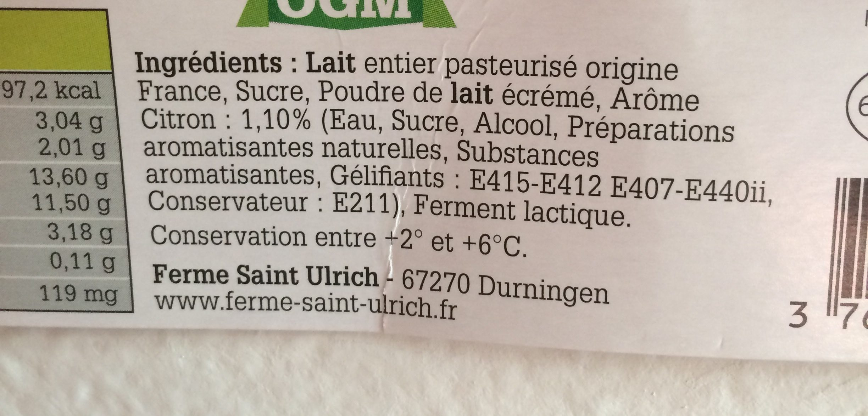 Yaourts fermier - Ingredients