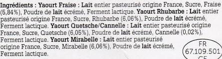 Yaourts fermiers aux fruits de nos regions - Ingrédients - fr
