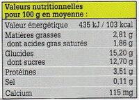 Yaourts fermiers aux fruits de nos regions - Informations nutritionnelles - fr