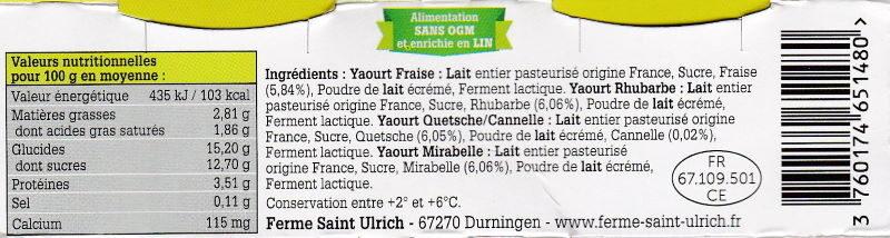 Yaourts fermiers aux fruits de nos regions - Instruction de recyclage et/ou informations d'emballage - fr