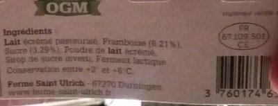 Yaourts fermiers à la  framboise - Ingredients