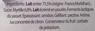 Yaourt au lait entier à la Myrtille - Ingrédients