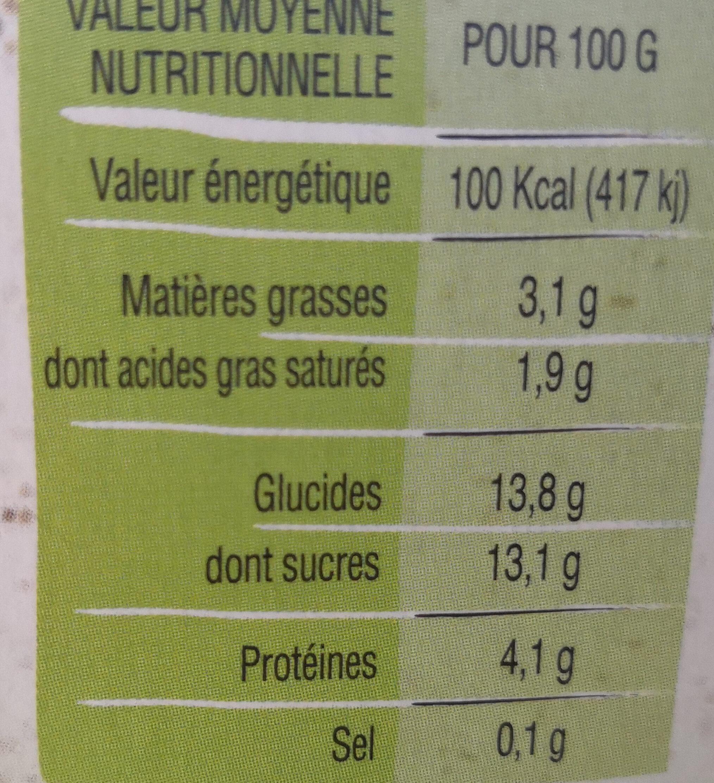Yaourt au lait entier à la Myrtille - Informations nutritionnelles