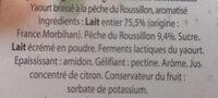 Yaourt au lait entier aux Pêches du Roussillon - Ingrediënten