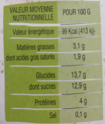 Yaourt au lait entier aux Pêches du Roussillon - Voedigswaarden