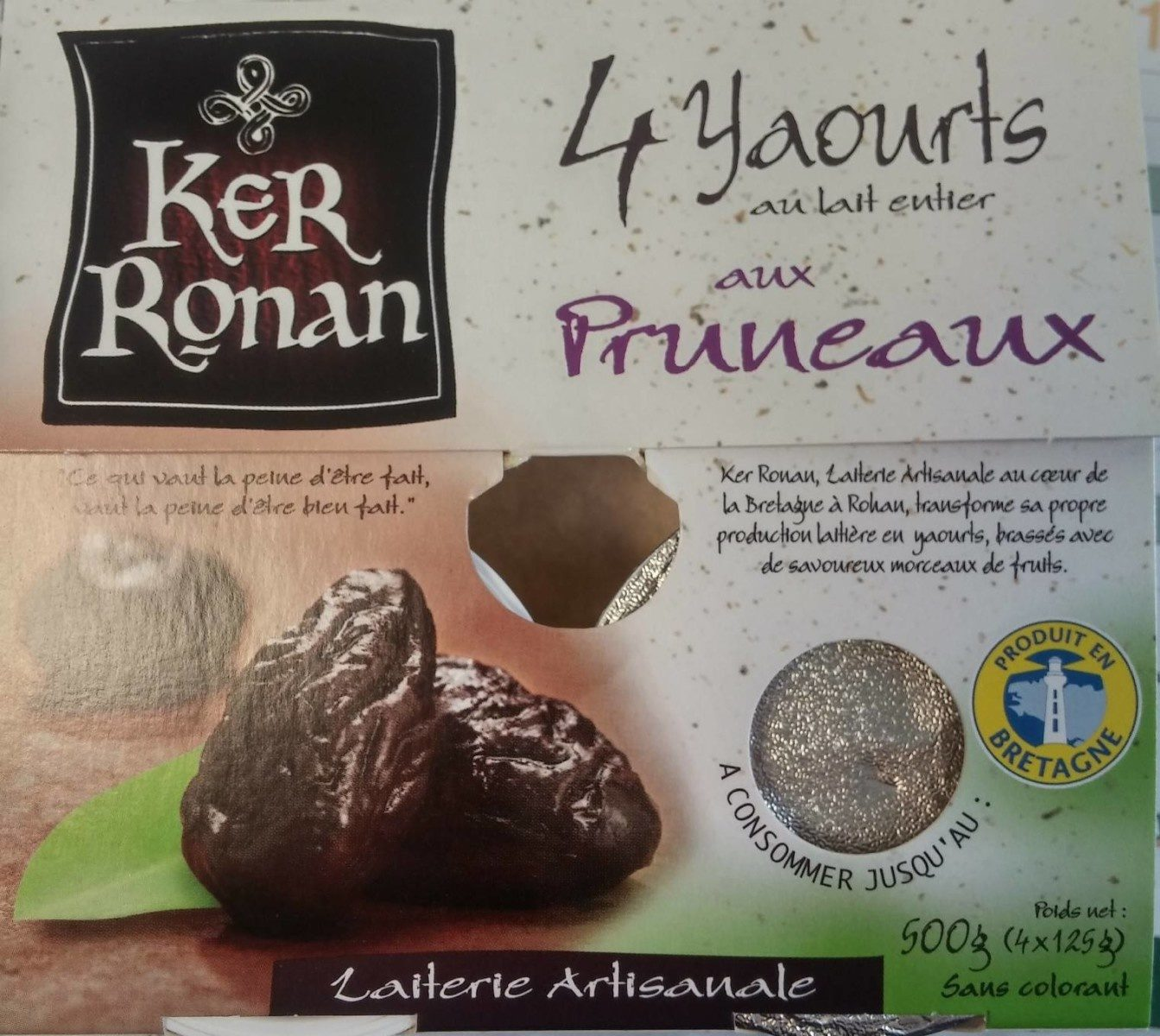 Yaourt au lait entier aux Pruneaux - Produit - fr