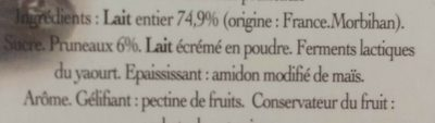 Yaourt au lait entier aux Pruneaux - Ingrédients - fr