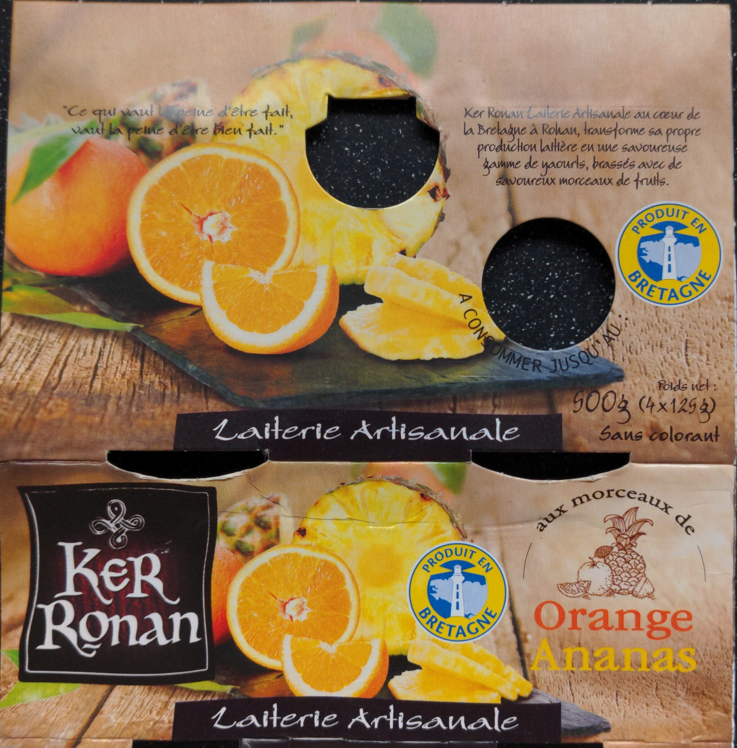 Yaourt Ker Ronan Orange/Ananas - Produit - fr