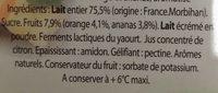 Yaourt Ker Ronan Orange/Ananas - Ingrediënten - fr