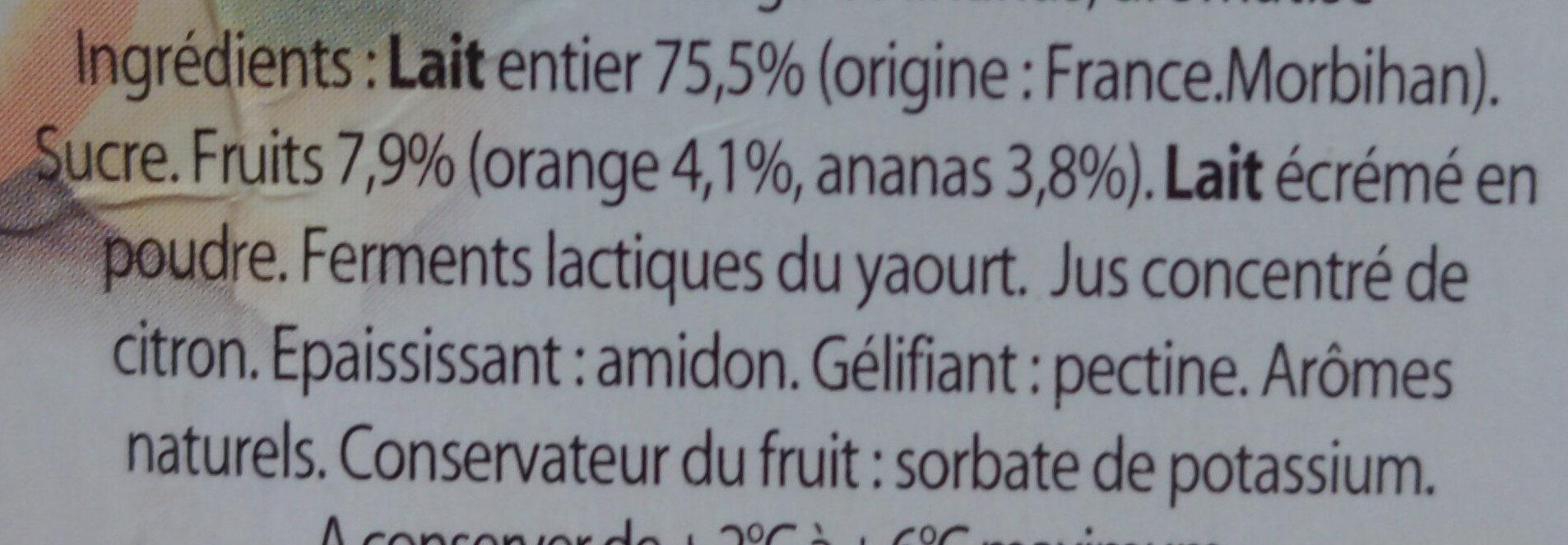 Yaourt Ker Ronan Orange/Ananas - Ingrédients - fr