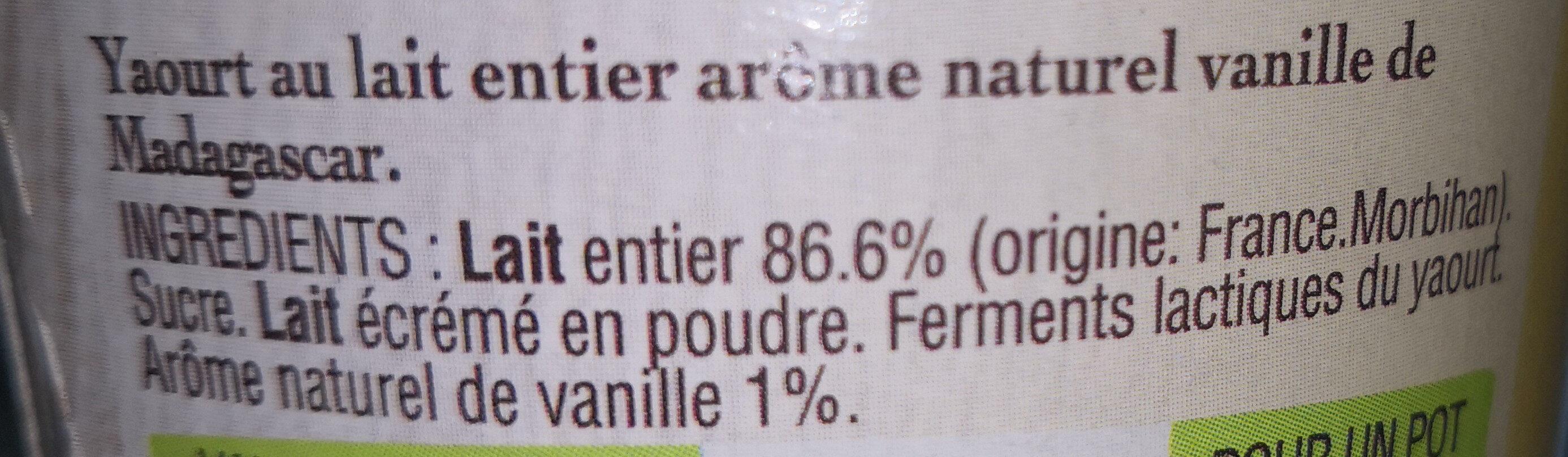 Yaourt au lait entier arôme Vanille de Madagascar et sa galette bretonne - Ingrediënten