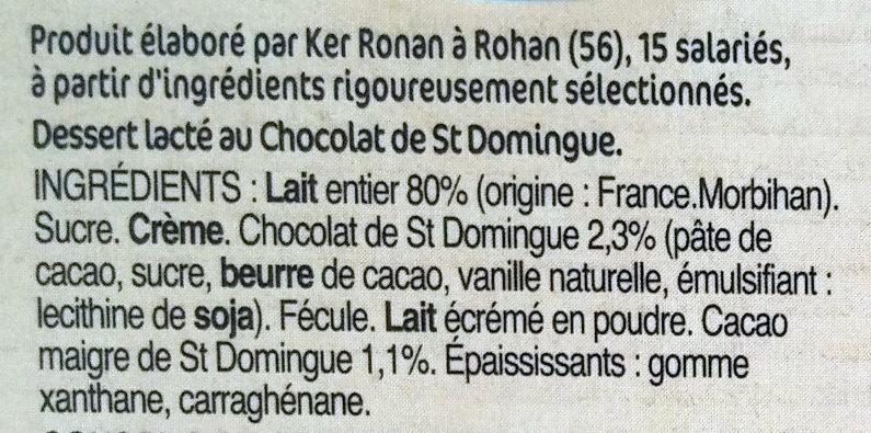 Crème dessert au lait entier Chocolat de St Domingue - Ingrediënten