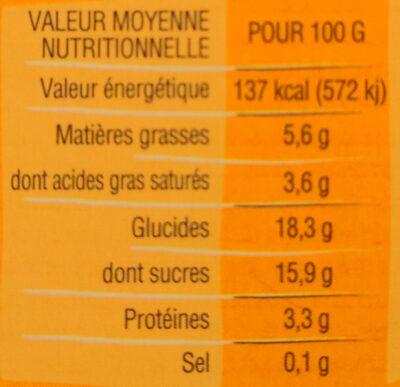 Crème dessert au lait entier, Caramel au beurre salé - Informations nutritionnelles - fr