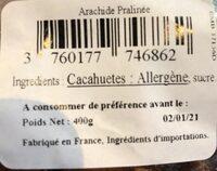 """Arachides Sucrées dites """"Pralines"""" - Ingrédients"""