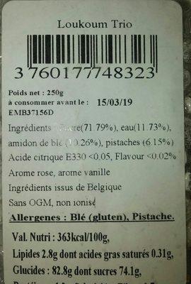 Loukoum trois saveurs - Ingredients - fr