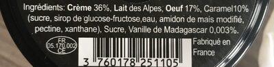 Crème aux oeufs - Ingredients - fr