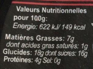 Panna cotta fruits rouges - Nutrition facts - fr